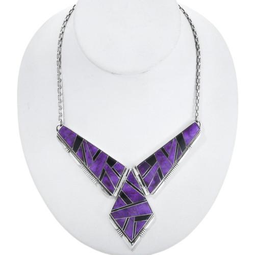 Inlaid Sugilite Hinged Vintage Navajo Necklace 34451