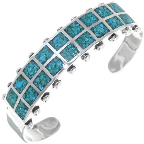Inlaid Turquoise Navajo Cuff Bracelet 34458