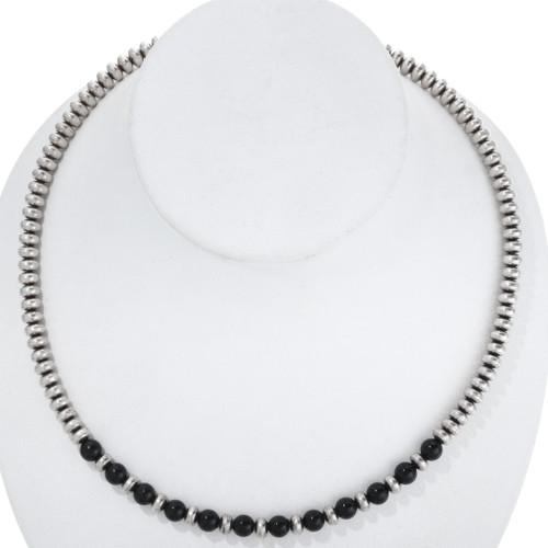 Vintage Navajo Silver Onyx Bead Necklace 34463