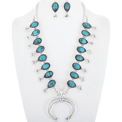 Genuine Turquoise Squash Blossom Necklace 29960