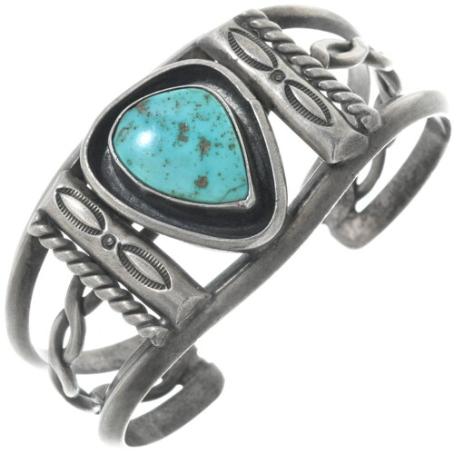 Vintage Turquoise Silver Navajo Bracelet 34518