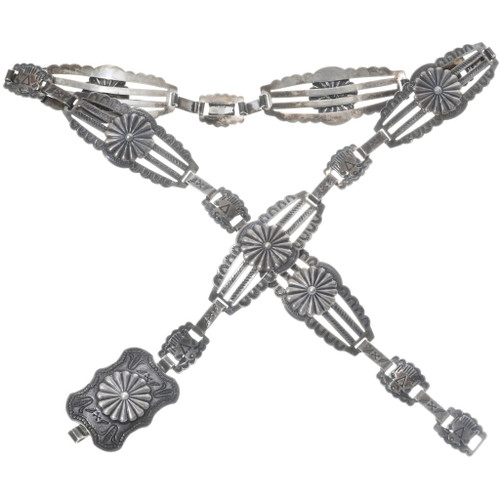Fred Harvey Hammered Silver Concho Belt 34519