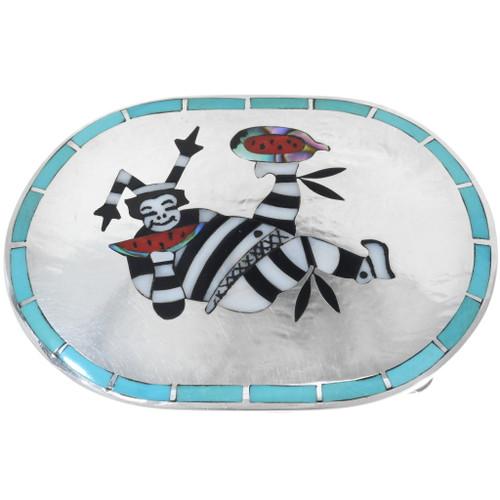 Old Pawn Zuni Clown Kachina Belt Buckle 34541