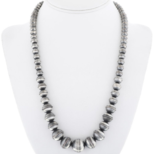 Antiqued Finish Sterling Bench Bead Necklace Graduated Strand 34554