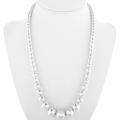 High Shine Sterling Bench Bead Necklace Graduated Strand 34554