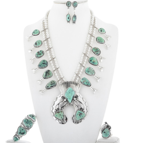 Traditional Turquoise Silver Squash Blossom 19456