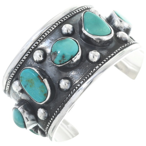 Old Pawn Turquoise Silver Cuff Navajo Sterling Bracelet 34570