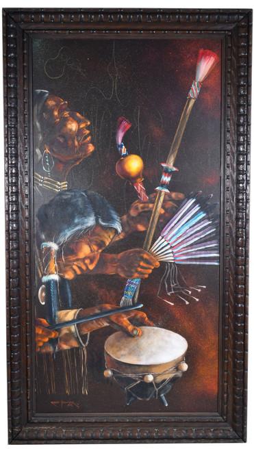 Vintage Navajo Peyote Dance Oil Painting 34571