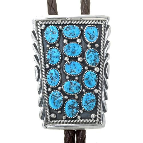 Natural Kingman Turquoise Silver Bolo Tie 34591