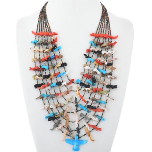 Vintage Hand Carved Native American Fetish Necklace 34621