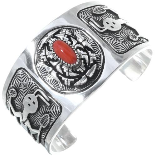 Vintage Coral Overlaid Silver Cuff Bracelet 34626