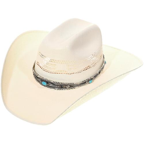 Navajo Turquoise Silver Hatband Handmade Sterling 34655