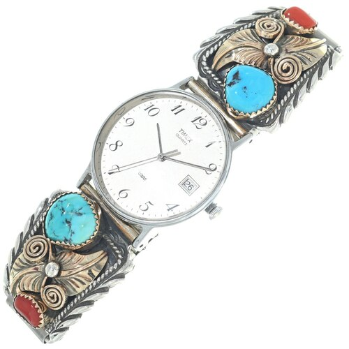 Navajo Silver Tips, Turquoise and Mediterranean Coral Watch 34683
