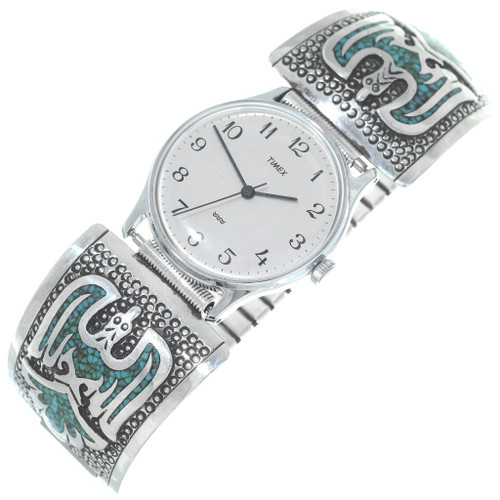 Old Pawn Mens Turquoise Silver Watch 34684