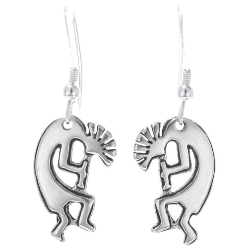 Sterling Silver Kokopelli Dangle Earrings 34820
