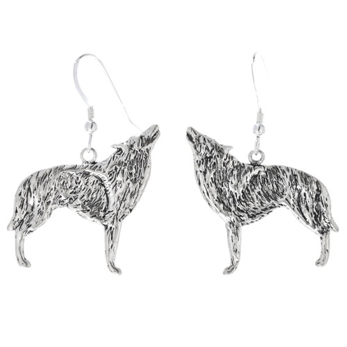 Howling Coyote Wolf Sterling Silver Earrings 34823