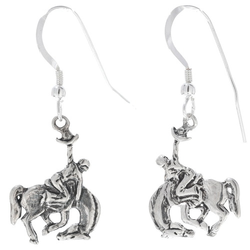 Western Bronco Silver Drop Earrings 34824