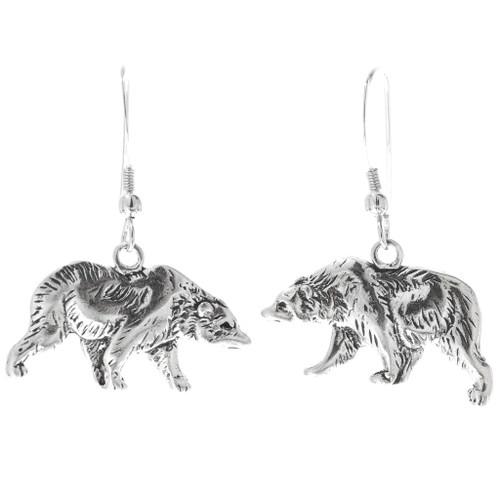 Native American Silver Bear Earrings 34825