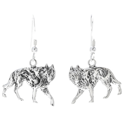 Navajo Sterling Silver Wolf Earrings 34826