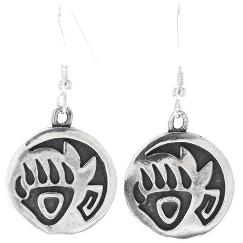 Sterling Silver Bear Paw Navajo Earrings 34830