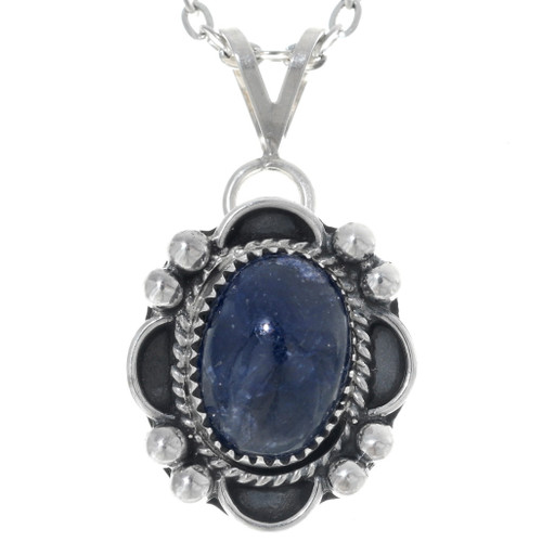 Southwest Sterling Silver Sapphire Pendant 34855