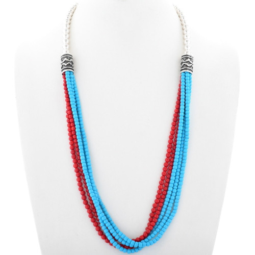 Navajo Turquoise Coral Silver Necklace 34859