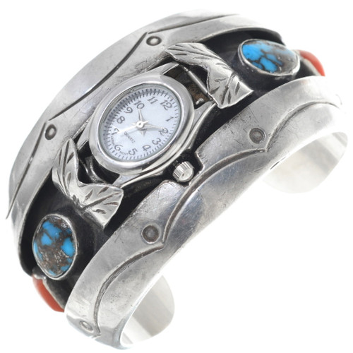 Old Pawn Bisbee Turquoise Coral Silver Watch 34860
