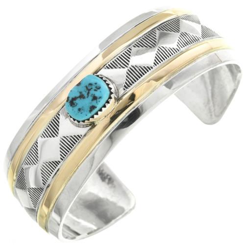 Vintage Silver Gold Turquoise Bracelet 31300