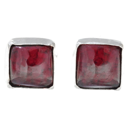 Navajo Garnet Silver Stud Earrings 34871