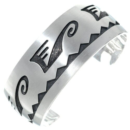 Old Pawn Hopi Overlaid Silver Cuff Bracelet 34897