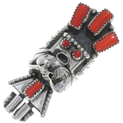 Corn Maiden Kachina Coral Sterling Silver Ring 34900