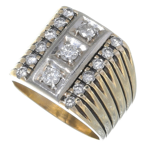 Vintage Diamond 14K Gold Mens Ring 35053