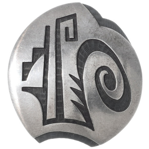 Old Pawn Overlaid Silver Hopi Brooch Pin 35081