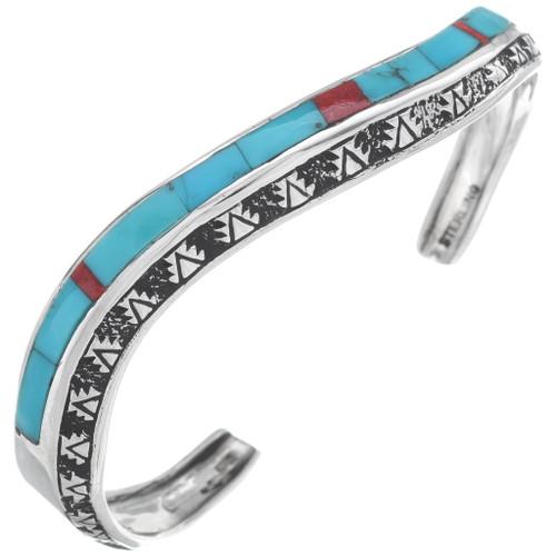 Inlaid Turquoise Silver Navajo Bracelet 35098