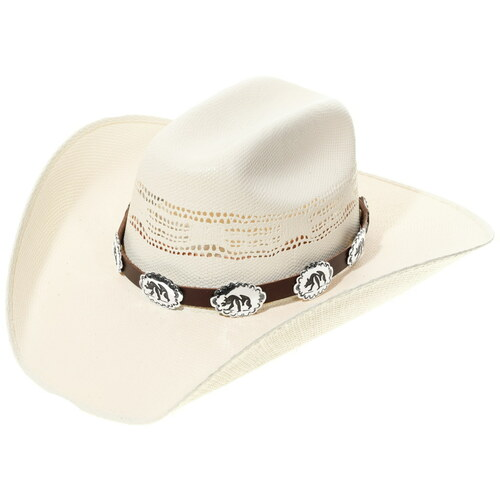 Navajo Silver Concho Bear Design Hatband 35121