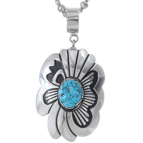 Navajo Sterling Silver Overlay Turquoise Pendant 35141