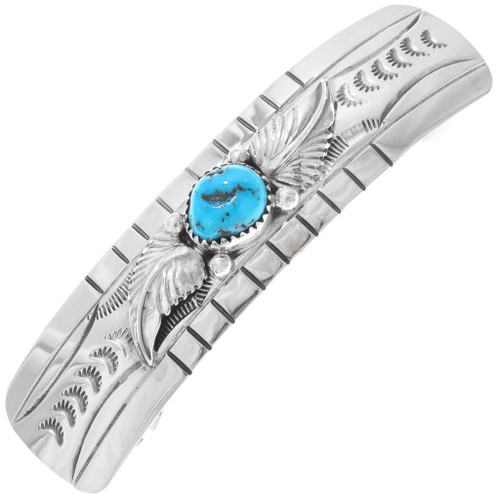 Natural Turquoise Hammered Silver Hair Barrette 23461