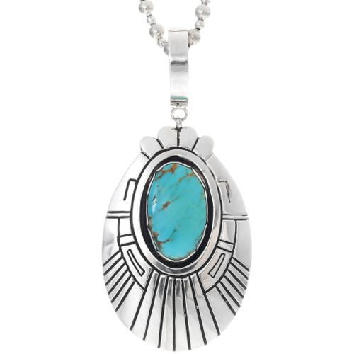 Turquoise Silver Navajo Pendant 35173