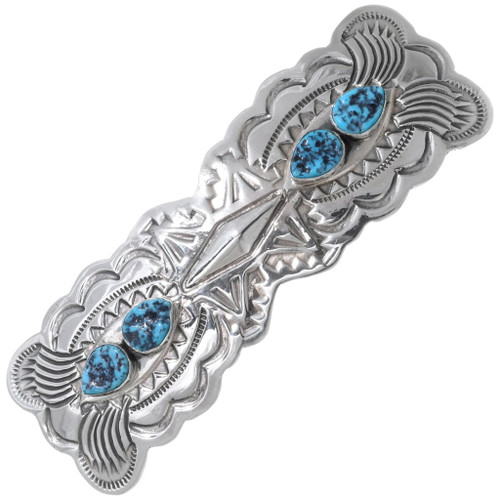 Navajo Turquoise Silver Hair Barrette 35178