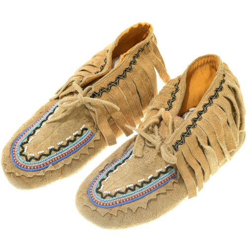 Vintage Beaded Leather Moccasins 35200