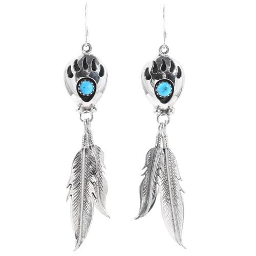 Navajo Turquoise Bear Paw Earrings 35232