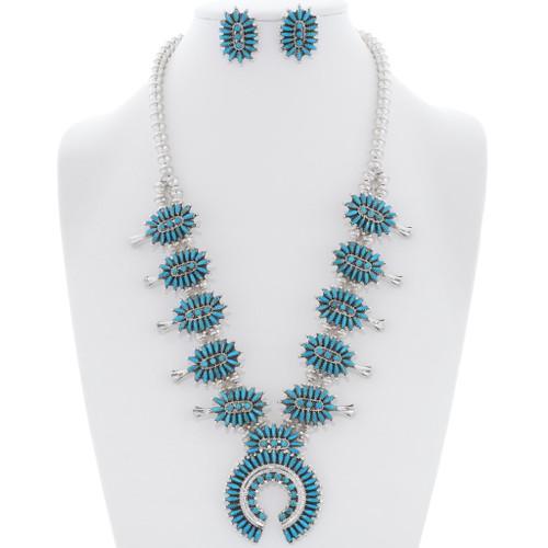 Needlepoint Turquoise Silver Squash Blossom Set 35237
