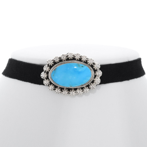 Navajo Turquoise Silver Black Leather Choker 35252