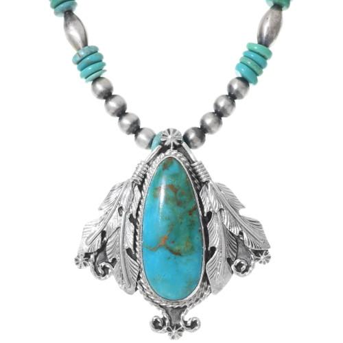 Navajo Turquoise Pendant Necklace 35262
