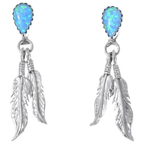 Opal Silver Feather Earrings 35266