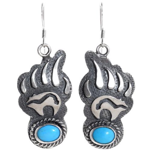 Navajo Turquoise Bear Paw Earrings 35267