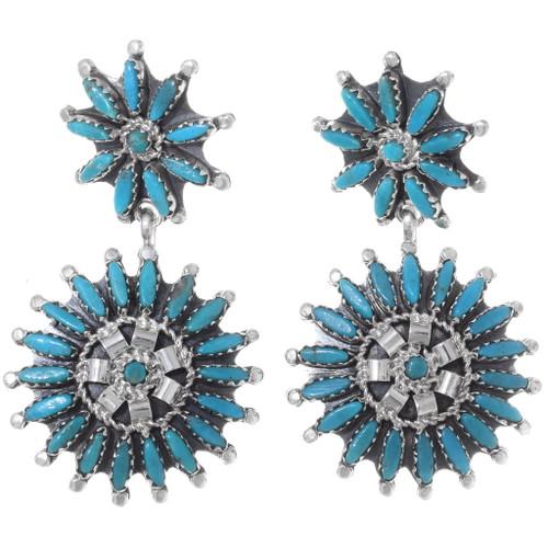 Turquoise Needlepoint Dangle Earrings