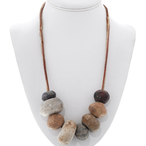 Old Stone Wood Beaded Necklace 35296