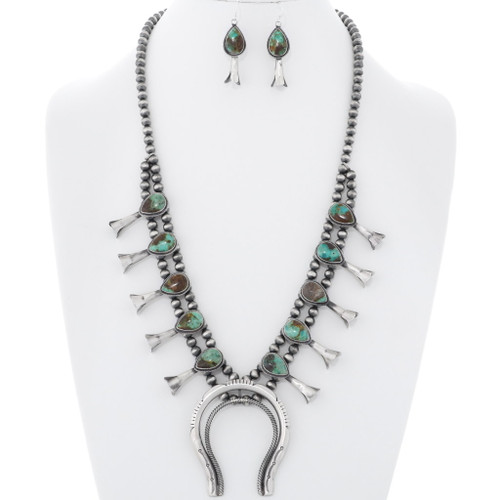 Turquoise Squash Blossom Necklace Earrings Set 35300