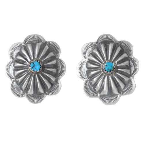 Turquoise Silver Concho Earrings 35307